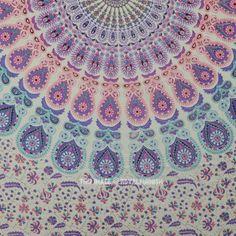 Purple Peacock Hippie Mandala Tapestry