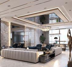 Ceiling Design Living Room, Interior Design Living Room, Living Room Designs, Modern Ceiling Design, Modern Design, Luxury Modern Homes, Luxury Homes Dream Houses, Plafond Design, Design Salon