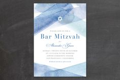 watercolor stripes Mitzvah Invitations by Four Wet Feet Design at minted.com