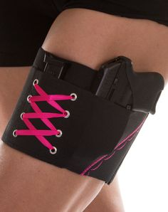 "Hot Pink On Black Garter Holster for Concealed Carry under Skirts. seems the brainwashers have ""reclaimed"" the meaning of being ""-washed"" into various progammed/conditioned agendae into meaning putting a ""sheen"" or ""spin"" on something. how maskirovka confusion style brainwasher of them."