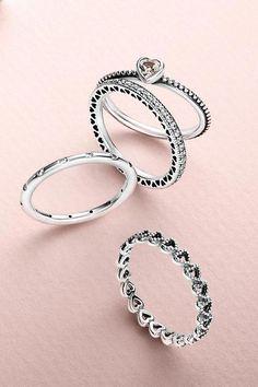 5b734b2c5 Create a romantic look by stacking cute heart-shaped rings. #PANDORA  #PANDORAring