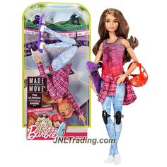 Mattel Year 2016 Barbie Made to Move Series 12 Inch Doll - SKATEBOARDER TERESA (DVF70) with Skateboard and Helmet
