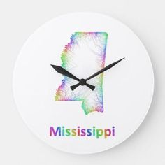 Customizable Map clocks from Zazzle. Choose a pre-existing design for your wall clock or create your own today! Large Clock, Wall Clocks, Wall Design, Mississippi, Wall Decor, Rainbow, Map, Wall Hanging Decor, Rain Bow