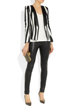 Balmain | Striped satin blazer, The Row top, Emilio Pucci pants, Gianvito Rossi shoes, and Alexander McQueen clutch.