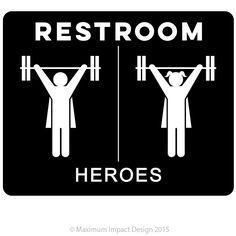 "Image of Heroes Crossfit Box Restroom Signage 10"" x 8"" Pre-order"