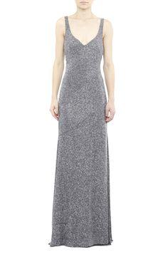 Nicole Miller Allover Beaded Oneofakind Gown in Gray (GUNMETAL)