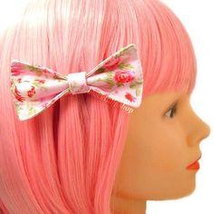 Cute Girly Fabric Hair Bow Clip Barrette Pink English Roses Shabby Chic Lolita Romantic