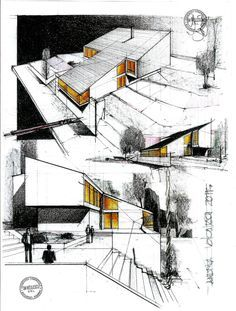 Love Drawing and Design? Finding A Career In Architecture - Drawing On Demand Architecture Design, Architecture Sketchbook, Architecture Graphics, Architecture Portfolio, Concept Architecture, Landscape Architecture, Classical Architecture, Schematic Design, Building Sketch