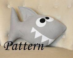 Shark Plush Pattern PDF Tutorial and Printable Templates -Chomp the Shark Pillow Pattern-