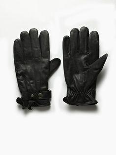 Fur Leather Glove, BLACK