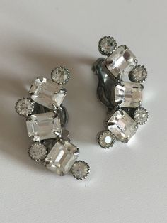 Vintage Weiss G Set Climber Crescent Rhinestone Silver Tone Clip Earrings