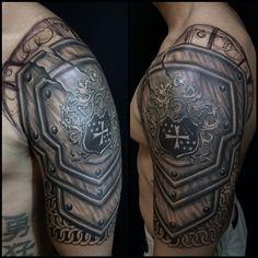 Freehand Custom design Tattoo 1st session done 1more to go..#happyclient #happyartist  #armourtattoo #freehandtattoos #blackandgraytattoos #spektrahalo #fkirons