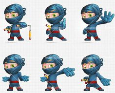 Blue Ninja Cartoon Character