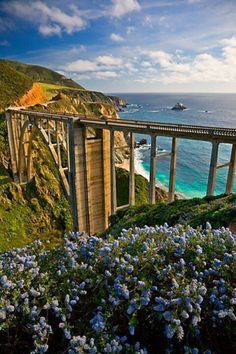 Bixby Bridge- Monterey, California  The view from the bridge is best appreciated from a motorcycle.  ~Klasko