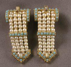 Ciner Victorian Style Faux Seed Pearl Turquoise Buckle Brooch Earrings | eBay