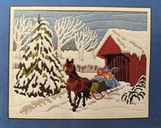 Covered Bridge Winter Sleigh Horse Needlepoint Kit Vintage ARTCRAFT | eBay