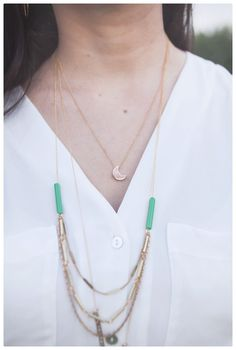 pretty layers ... Manhattan -- layered gold chain and green necklace on crafts and love