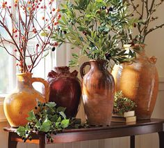Sicily Vase Collection from Pottery Barn. Beautiful accent piece for any room in the house. Really looks good with the olive branches Pottery Barn sales! Rustic Italian, Italian Home, Italian Patio, Design Toscano, Style Toscan, Tuscan Colors, Tuscany Decor, Tuscan House, Mediterranean Home Decor