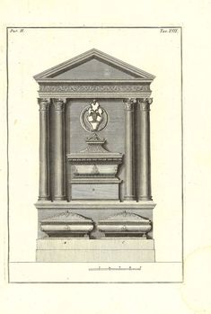 1760 Antique Architecture Print Funerary Art by CarambasVintage