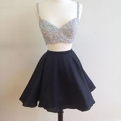 Homecoming Dresses,beaded top black satin two piece homecoming