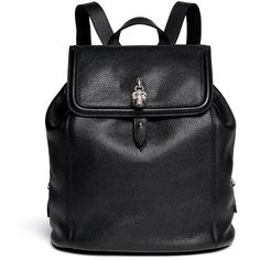 Alexander Mcqueen 'Padlock' leather backpack ($1,975) ❤ liked on Polyvore featuring bags, backpacks, black, accessories, bolsas, leather rucksack, black leather knapsack, real leather backpack, leather knapsack and backpacks bags