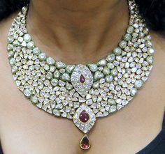 Vintage Estate 20 ct Gold Diamond kundan meena by Amrapali on Etsy, $36000.00