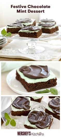 Get ready for the holidays with a Festive Chocolate Mint Dessert! This easy recipe is made with HERSHEY'S Cocoa and HERSHEY'S Kitchens Mint Chocolate Chips. Bring these brownies to a Christmas party or bake them over the winter break with the kids.