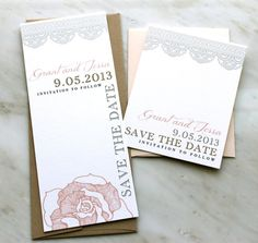 Ruffled Romance  Lace & Floral Save the Dates by BeaconLane