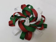 Christmas hair bow looped stacked  red by SweetPeaBowsBoutique, $5.00