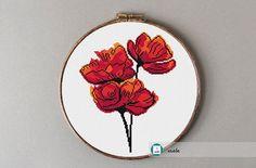 Watercolor poppies cross stitch pattern,modern pattern, PDF, DIY ** instant download**free shipping