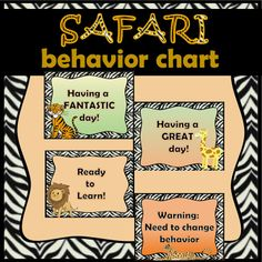 The Safari Themed Behavior Clip Chart is an excellent tool to monitor student behavior in the classroom.  5 behavior levels including: Having a Fantastic Day, Having a Great Day, Ready to Learn, Need to Change Behavior, Call Home OR Principal's Office (one set of each)  ***Also includes a set without text so you can add your own behavior guidelines!!