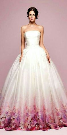 30 Ball Gown Wedding Dresses Fit For A Queen Entire Wedding Made colored wedding gowns - Wedding Gown Colored Wedding Gowns, Gown Wedding, Wedding Dresses With Color, Dip Dye Wedding Dress, Wedding Gown Images, Ballroom Wedding, Wedding Shoes, Evening Dresses, Formal Dresses