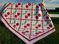Cherry on Top quilt pattern designed by me! http://podunkpretties.blogspot.com/2013/07/cherry-on-top-friday-finish.html