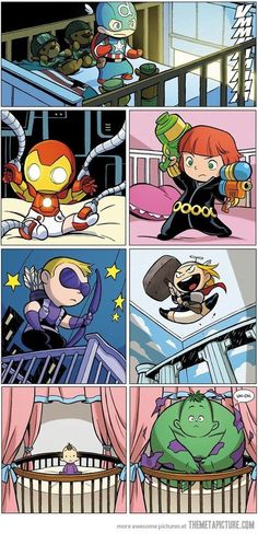 Baby Avengers.  I put this artwork on my daughters bedroom wall. She loves her Captain America!