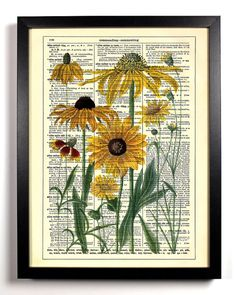 Yellow Daisies Repurposed Book Upcycled by StayGoldMedia on Etsy, $6.99