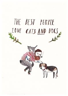 cats and dogs watercolor illustration | by Dick Vincent