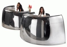 aircraft furniture airline engines made into desks