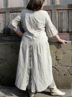 Boho dress with a petticoat. Internet-shop Fair of Masters. Boho Fashion, Fashion Dresses, Elegant Bridesmaid Dresses, Handmade Dresses, Mode Vintage, Linen Dresses, Boho Dress, Plus Size Fashion, Boho Chic