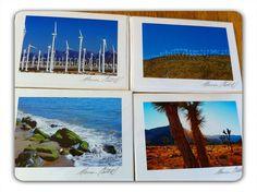 Greeting Cards of California's Palm Springs windmills, Joshua tree State park, and Malibu  beach by Marina Castillo