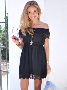 Vestido Casual encaje hombro al aire-negro-Spanish SheIn(Sheinside) Sitio Móvil