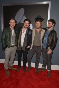 Mumford and Sons together at the 2013 Grammys.