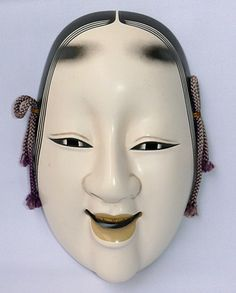 Decorative Noh Theatre mask of Ko Omote depicting young beauty lady. Ceramic, gofun furnishing, from 1950's.