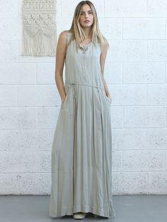 #AdoreWe #StyleWe Naftul Ivory Sleeveless Solid Pockets Simple Maxi Dress with Belt - AdoreWe.com