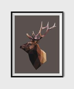 Geometric wall art, Printable Elk poster, Modern geometric animal print, polygonal triangles art,Deer Head print, woodland animals print by StudioUsh on Etsy https://www.etsy.com/listing/264289719/geometric-wall-art-printable-elk-poster
