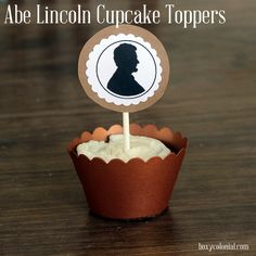 lincoln silhouette cupcake toppers: b-day party or presidents day