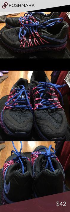 Sneaker Black pink purple & royal blue Nike fit sole, fit cushioning sneaker. Size 9.5( worn once) Nike Shoes Sneakers