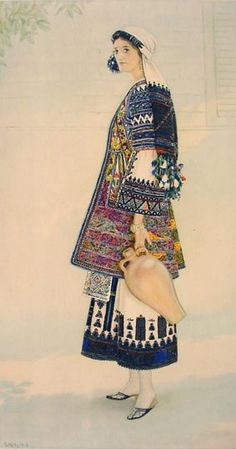 NICOLAS SPERLING Peasant Woman's Costume (Peloponnese, Corinth) 1930 lithograph on paper after original watercolour Greek Traditional Dress, Traditional Fashion, Traditional Outfits, Greek Clothing, Medieval Clothing, Historical Clothing, Dance Costumes, Greek Costumes, Greek Culture