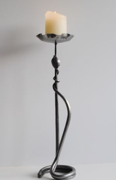 Belltrees Forge wrought iron contemporary Scottish candlestick Double Round With Leaf in stock for next day dispatch