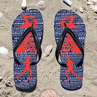 Triathlon Swim Bike Run Inspiration Male Flip Flops - Kick back after a triathlon with these great flip flops! Fun and functional flip flops for all triathletes.