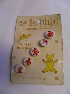 "ButtonArtMuseum.com - 5 Vintage Le Chic Plastic Buttons on Card 7 16"" Kiddie Animal Designs"